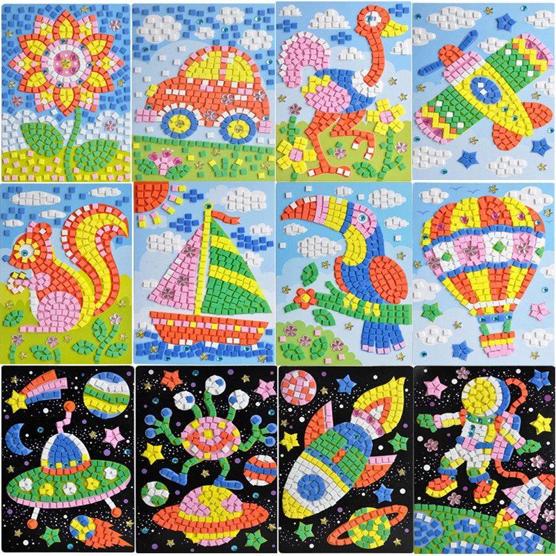 1pcs 3 Styles 3D Mosaics flower Puzzle Creative drill Sticker Game Animals Transport Arts Craft for Kids Educational Toy Puzzle