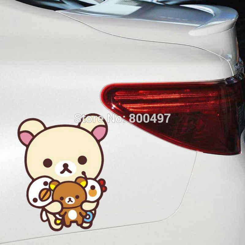 สติกเกอร์รถใหม่การ์ตูนหมี Rilakkuma รถผสมสำหรับ Tesla Toyota Volkswagen Chevrolet Ford Fiat BMW Honda Lada
