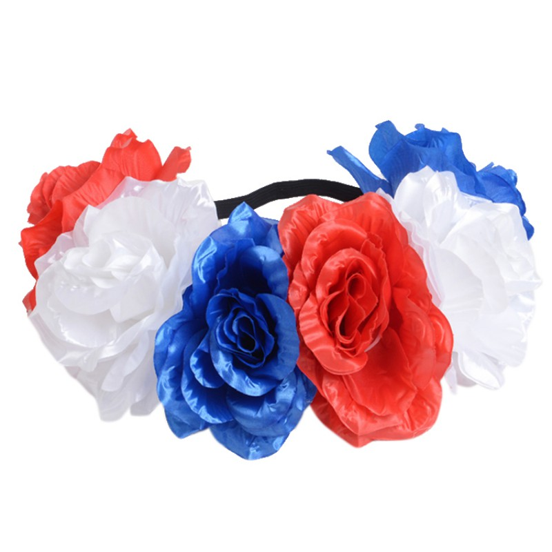 Country Flag Color Elastic Artificial Flowers Headbands Garland Hairbands Festival Russian Competition Beach Hair Accessories
