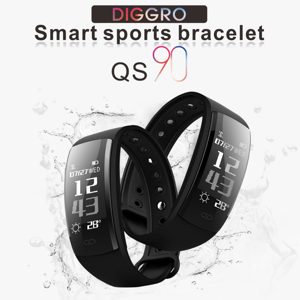 Diggro QS90 Smart Band Wristband Real-time Heart Rate Monitor Blood Pressure Pedometer Watch Activity Fitness tracker pk QS80