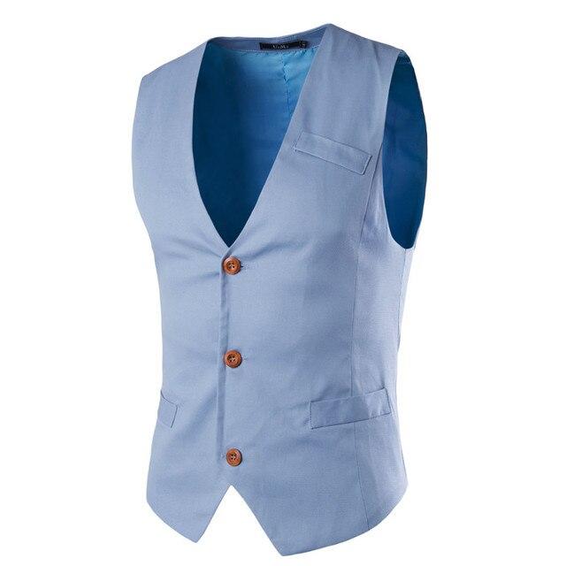 2017 New Brand Sleeveless Vest Men Casual Slim Fit Chaleco Hombre Cotton Suit Vest Solid Mens Suit Vest