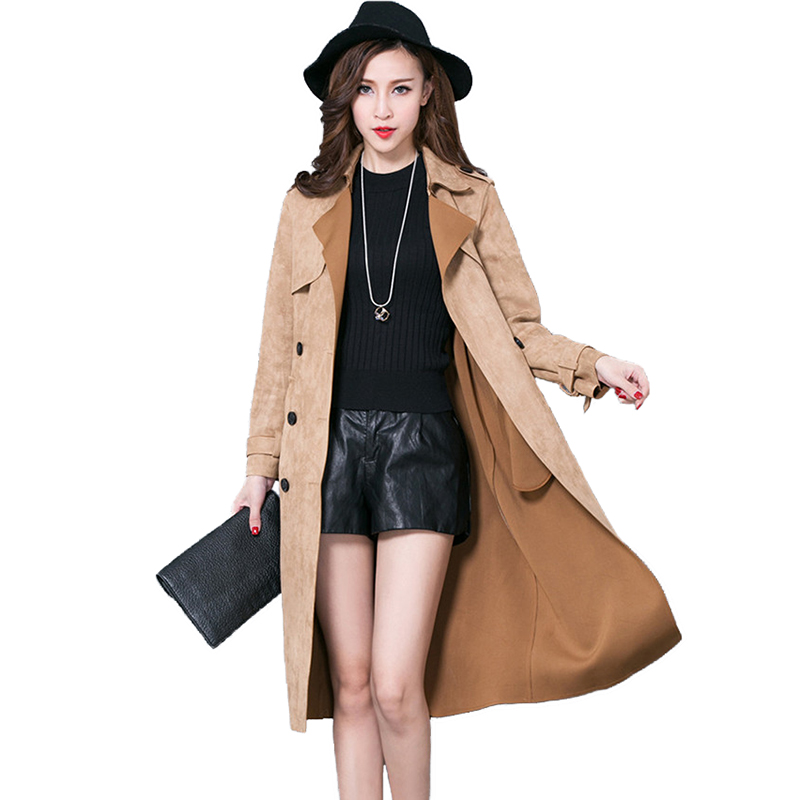 Fashion Buckskin Suede   Trench   Coat Women Spring Autumn Long Coat Plus size S-6XL Windbreaker Female Double-breasted   Trench   A2841
