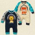 Inverno nova estrela Coreana leão macacão de algodão Romper do bebê de manga longa roupas