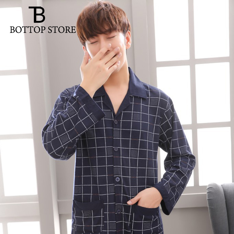 Suit Pyjamas-Sets Lounge-Wear Youth Winter Long-Sleeve Male Cotton Men Casual Autumn