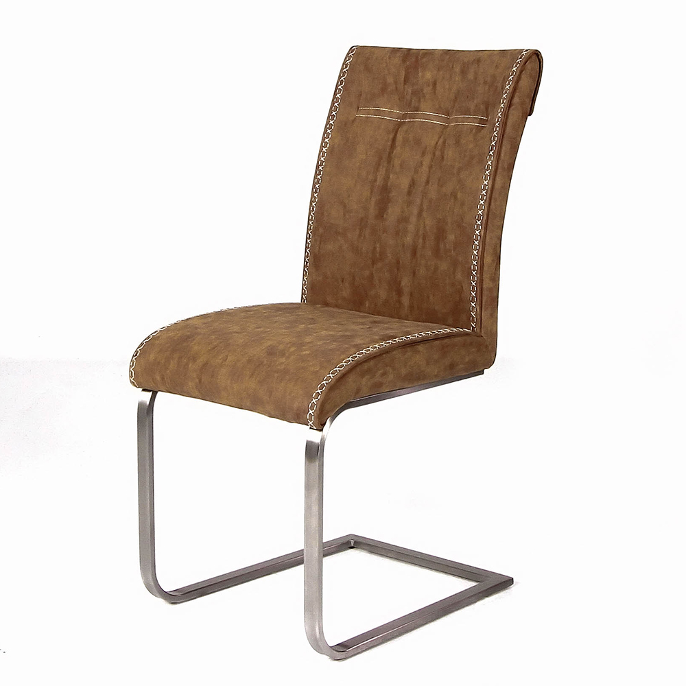 Fancy-Fix Bow-shaped dining chair designer Vintage brown PU leather comfortable kitchen chair for canteen dining room furniture 9050a the artificial leather dining chair kitchen chair and iron chair are white according to the bar s kitchen family furn