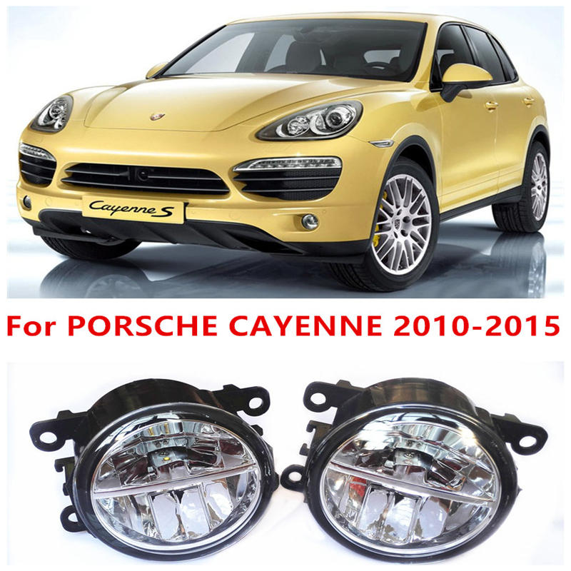 ФОТО For PORSCHE CAYENNE 2010-2015 Fog Lamps LED Car Styling 10W Yellow White 2016 new lights