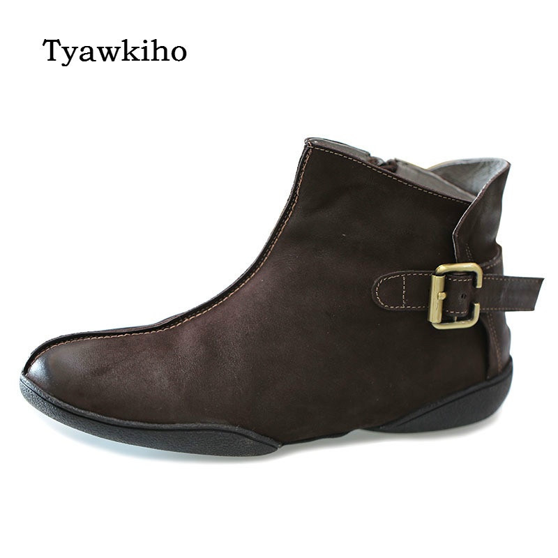 Tyawkiho prawdziwej skóry kobiet kostki buty kawy Retro buty Chelsea dla czółenka na niskim obcasie skórzane buty sprzedaż Retro ręcznie robione buty w Buty do kostki od Buty na  Grupa 3