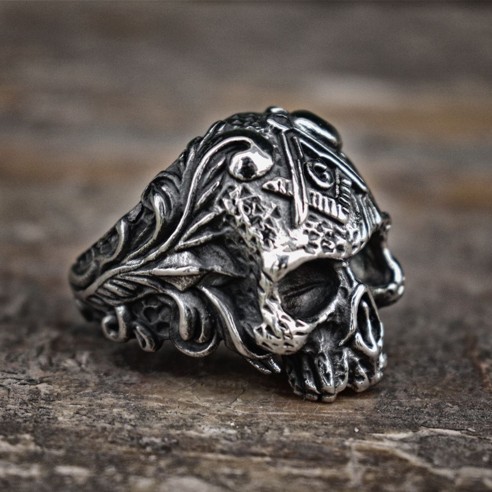 Vintage Vine Masonic Skull Rings Men