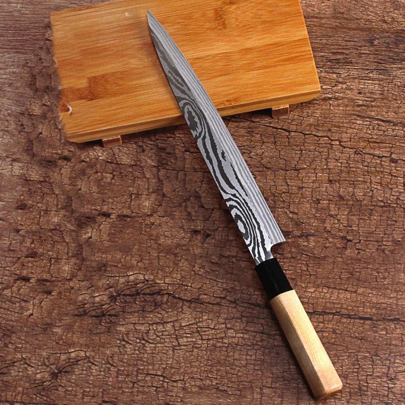 LDZ Heiße Japanische 8-zoll küchenmesser sashimi sushi Lachs messer Filetieren Messer 5Cr15mov Damaskus muster stahl kochen messer