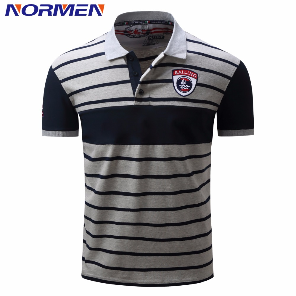 NORMEN Men's Fashion Striped   Polo   Shirts Short Sleeves Cotton Breathable Loose Shirt Classic Style Turn-Dwon Collar   Polos   Men