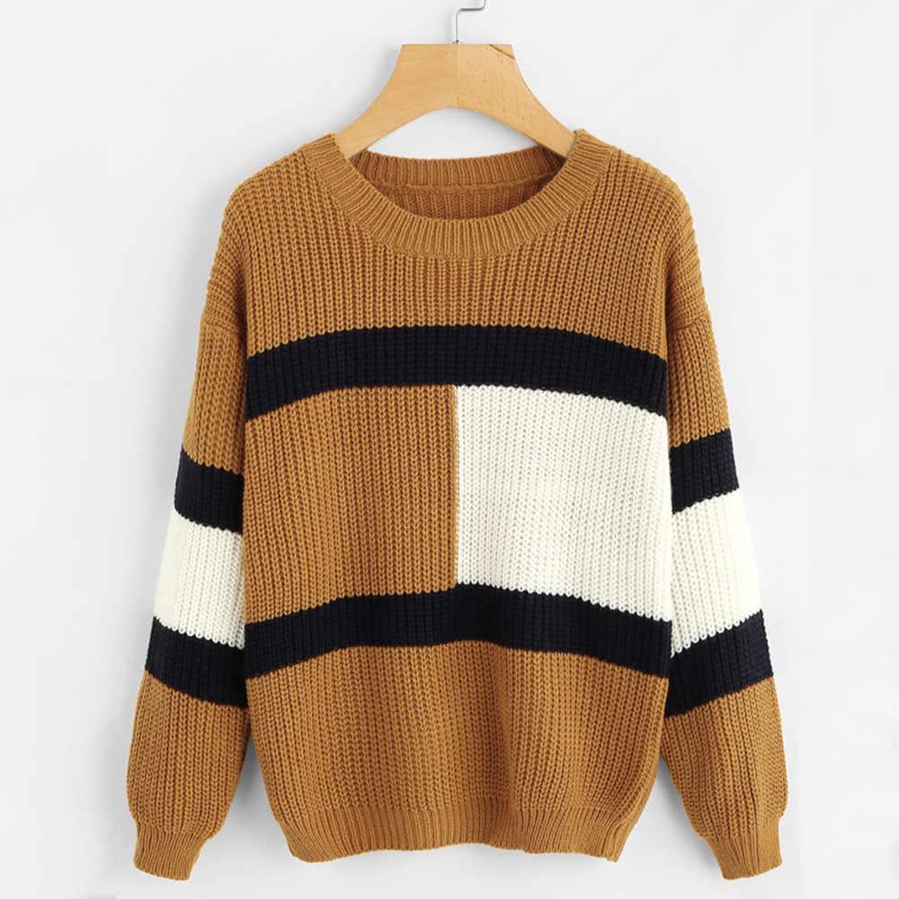 Cuello redondo caliente mujeres suéter otoño 2018 Patchwork invierno mujer  Pull hecho punto alta elasticidad suéteres 41fc5527352a