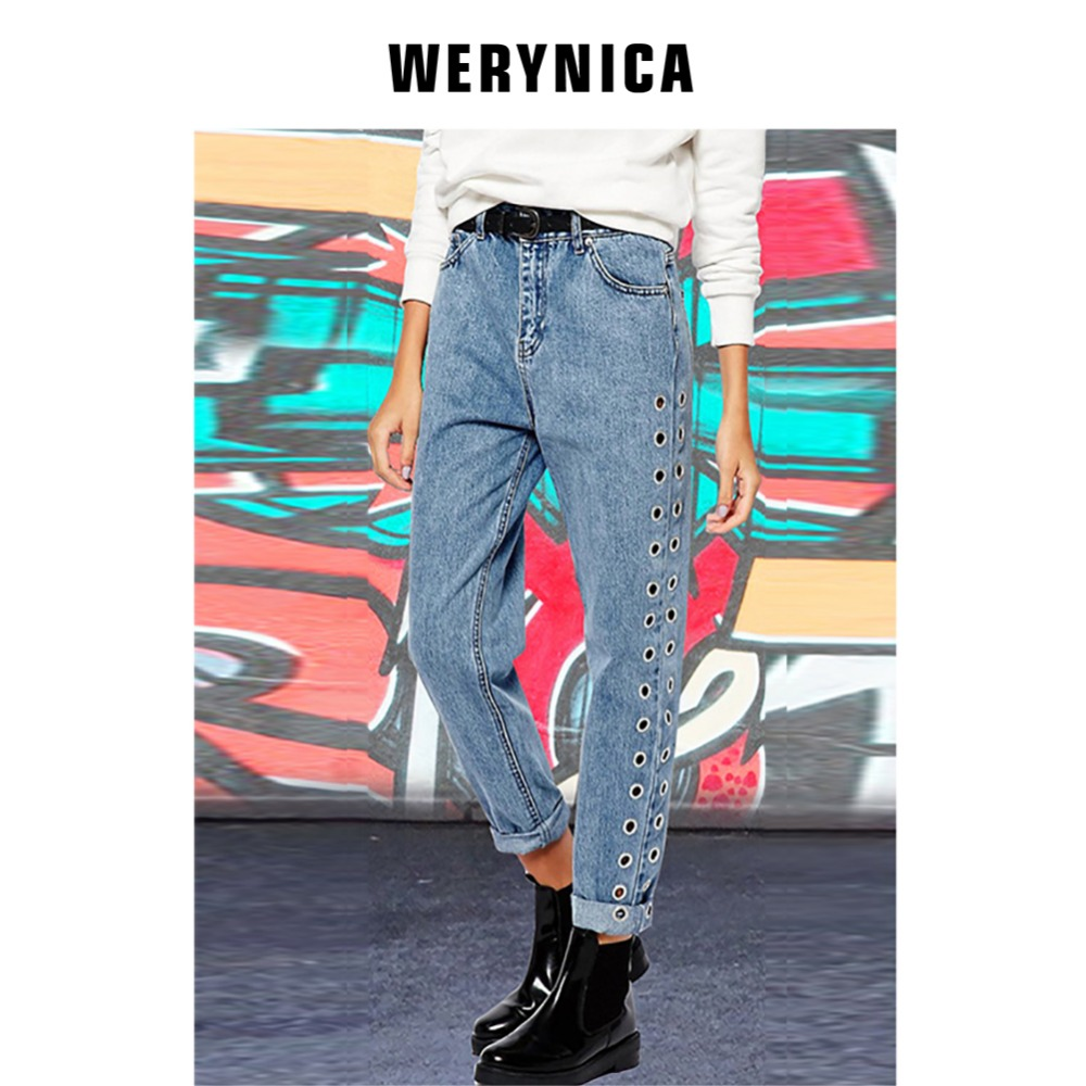 Werynica Woman Mom Jeans Pants Boyfriend Jeans For Women With High Waist Large Size Fashion hole Ladies Jeans Rivet Denim 2019