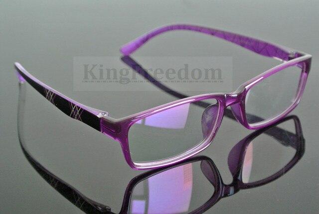 Women Purple Transparent Eyeglass Frame Full Rim Glasses Spectacles ...
