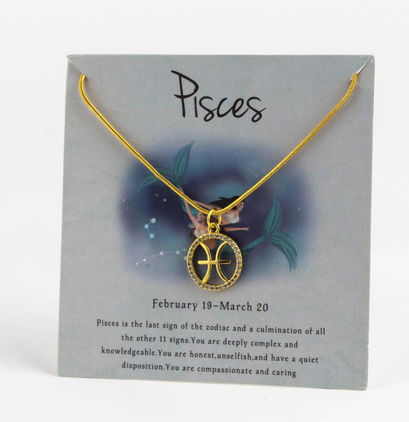 Ожерелье с подвеской в виде животных 12 созвездий для женщин, чокер для пар, массивная цепочка, ожерелье золотого цвета, Знак зодиака с коробкой для карт - Окраска металла: 10