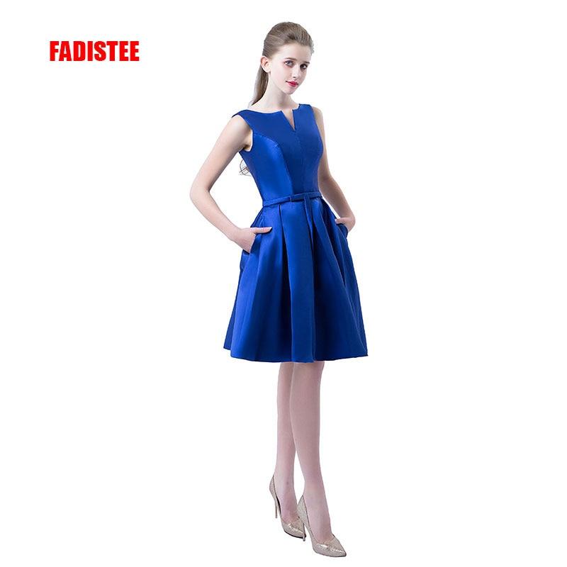 Hot Sale A-line Short Dresses V-opening Back Cocktail Party Lace-up Veatidos De Festa Simple Style Satin Pockets Prom Dress
