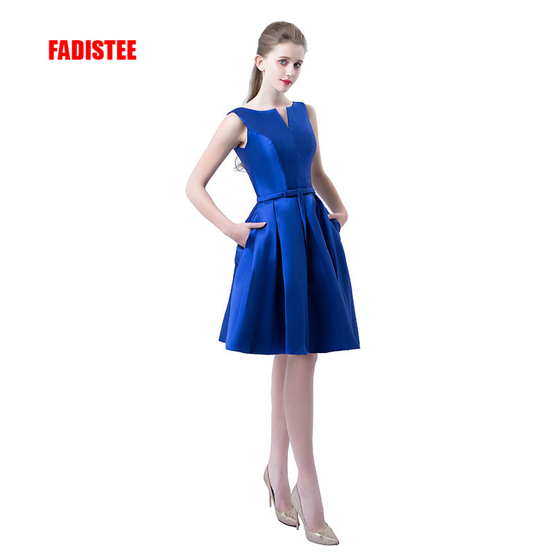 Hot sale A-line short   dresses   V-opening back   cocktail   party lace-up veatidos de festa simple style satin pockets prom   dress