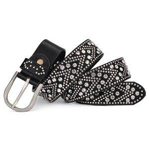 Image 2 - Rivet Vintage Luxury Designer Punk Set Auger Belts Women High Quality Female Genuine Real Leather Waist Handmade Strap for Jeans