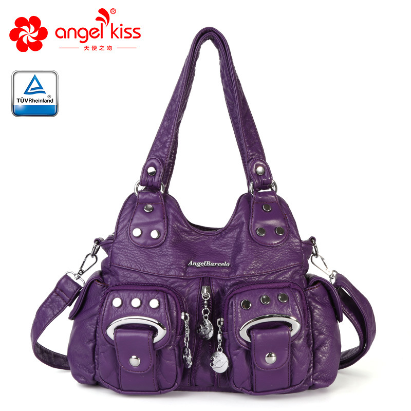 Angel Kiss Fashion New Style Skin Friendly Washed PU Leather Handbag Large Capacity Multi Pockets Women Messenger Bags in Shoulder Bags from Luggage Bags
