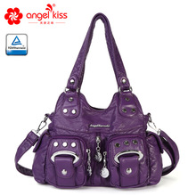 Angel Kiss Fashion New Style Skin Friendly Washed PU Leather Handbag Large Capacity  Multi Pockets Women Messenger Bags pu leather metal multi zips handbag
