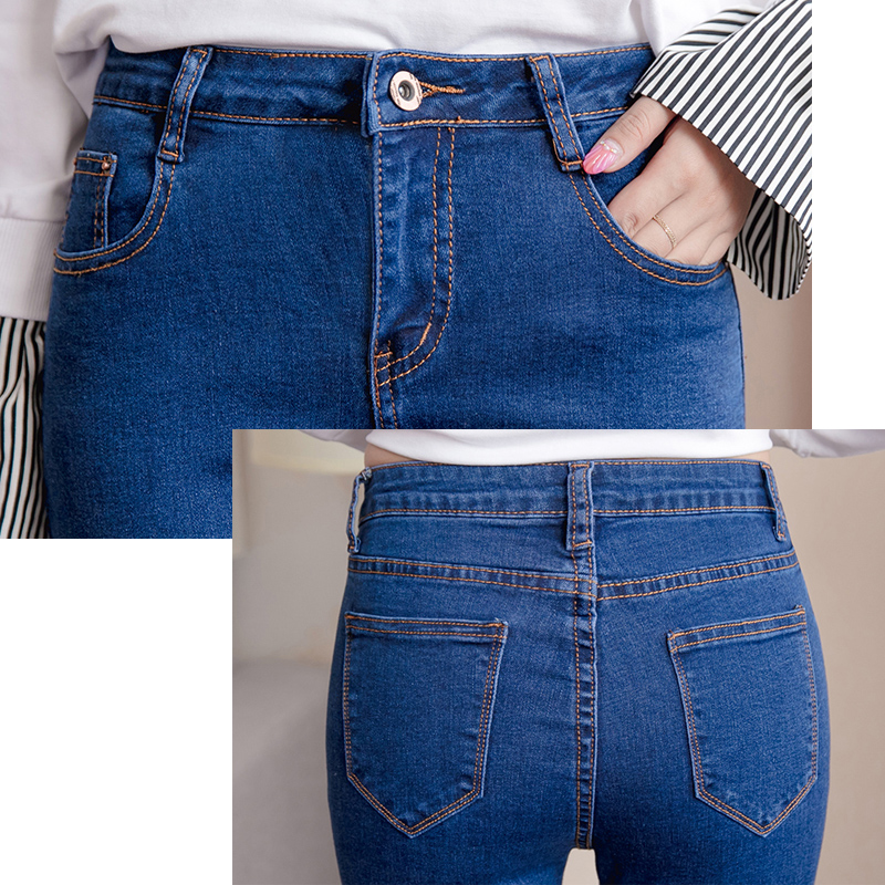 Plus Size High Waist Stretch Washed Jeans Woman Denim Pants  Befree Trousers For Women Pencil Skinny Jeans Light Blue Gray Black #5