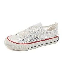 Canvas shoes girls 2019 summer mesh casual shoes pupils sports mesh hollow retro popular big children's shoes
