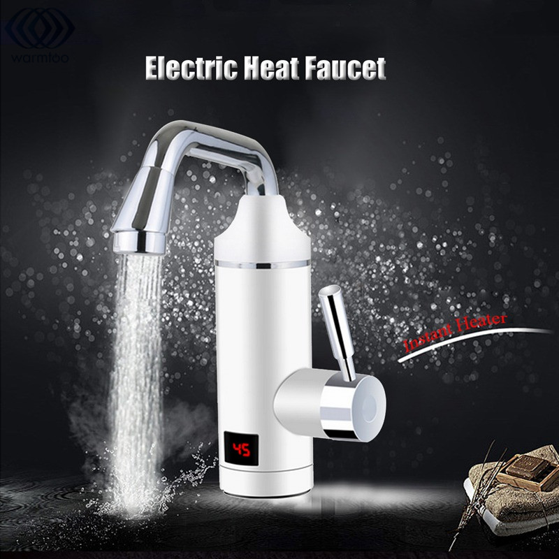 3000W Electric Water Heater Faucet Kitchen Instant Fast Heating White Digital Display Leakage Protection 220V-250V