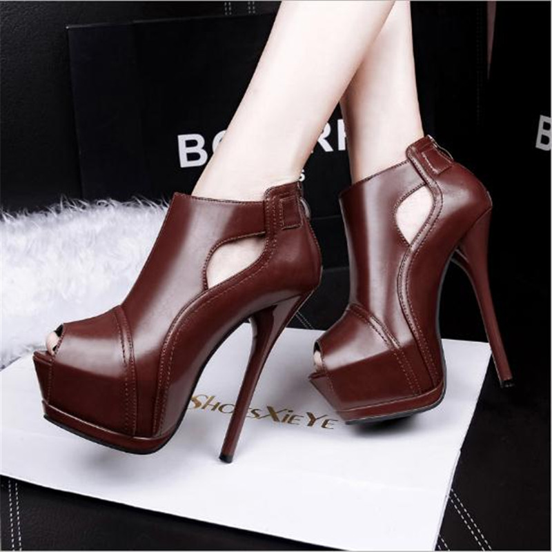 ФОТО Peep Toe Women Platform Boots Fashion Ultra High Heels Boots For Women Buckle Strap Winter Ankle Boots 2016 free shipping