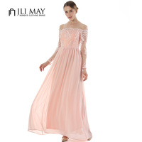JLI MAY Evening Party Lace Dress Maxi Embroidery Chiffon Slash Neck Off The Shoulder Long Sleeve