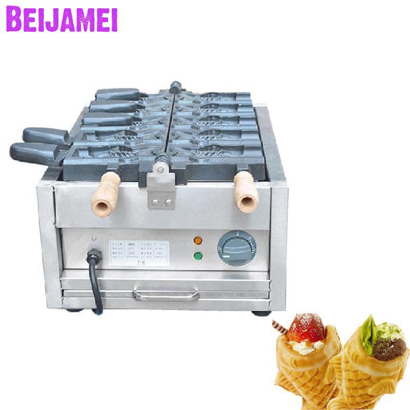 BEIJAMEI 1101C Commercial 110v 220v Ice Cream Big Mouth Fish Egg Waffle Taiyaki Maker Ice Cream