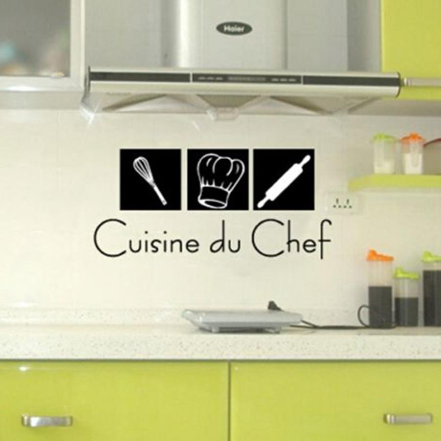 US $4.32 12% di SCONTO|Francese Cucina Wall Stickers Cuisine du Chef Vinile  Stickers Murali Per La Casa Francese Cucina Moderna Murale Decor ...