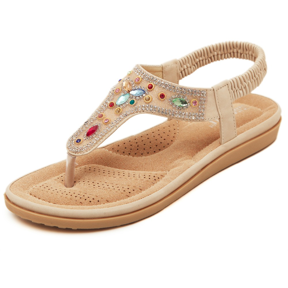 Nice New Women Sandals Female Fahion Bohemia Women Shoes Slipper Rhinestone Shoes Women Summer Flats Plus Size Fashion