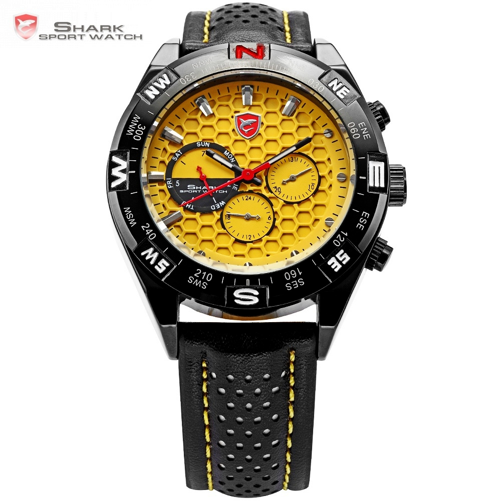 Shortfin SHARK Sport Watch Date Day Black Stainless Case Leather Band Strap Yellow Analog Quartz Relogio