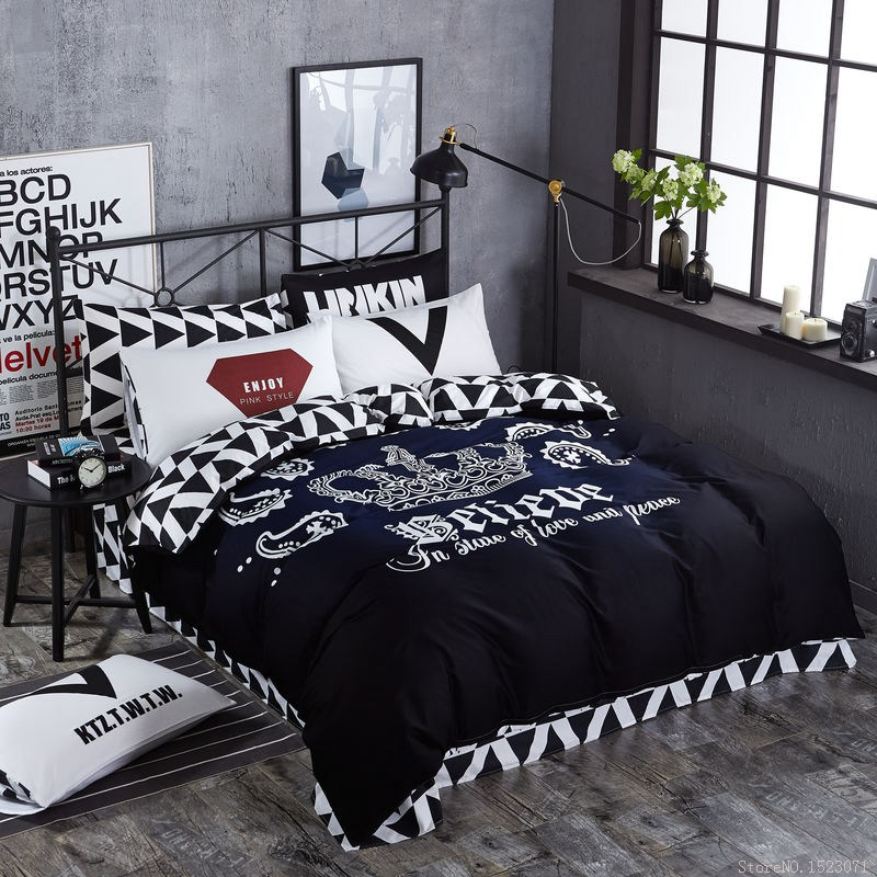 TUTUBIRD black and white Crown bedding sets 100% cotton fashion brand duvet covers striped plaid bedspreads bed sheets