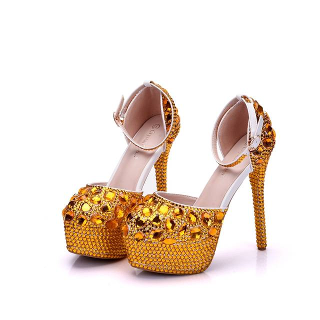 6b05f250734 Crystal Queen Wedding Shoes Bridal Sandals Women Girl Gold Glitter Fake  Crystal Evening Party Dress Shoes