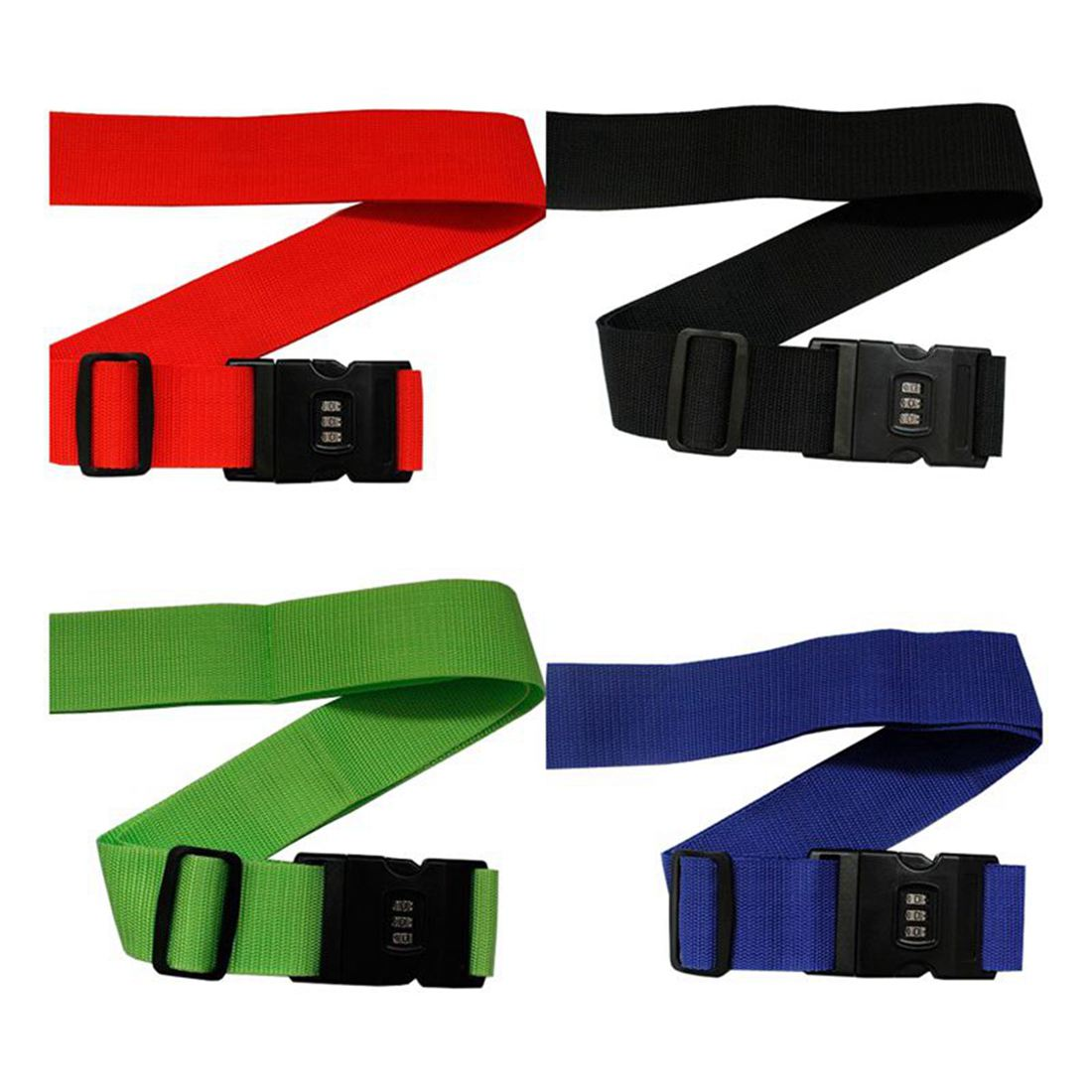 THGS 4 Ultra Resistant blue + green + red + black polypropylene plastic password lock luggage strap / Baggage strap