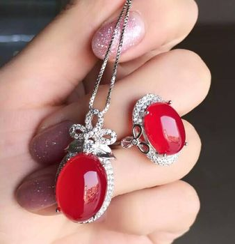 KJJEAXCMY boutique jewels 925 Pure silver inlay natural red jade medullary ring + pendant + earring set with diamond vine flower