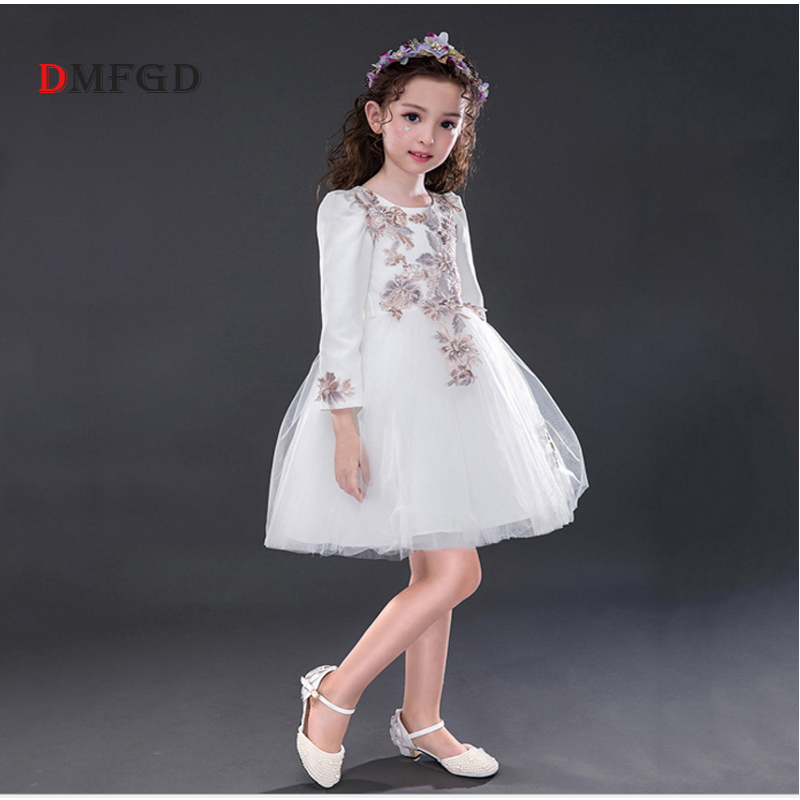 2018 NEW Whit Embroidery long sleeve princess dress for girl Fashion floral girls sequins party piano wedding children dresses fashion 2016 new autumn girls dress cartoon kids dresses long sleeve princess girl clothes for 2 7y children party striped dress