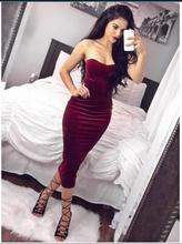 2016 Long Sleeve  Length Dress Slim Bodycon  Autumn Black Wine Red Women Dresses
