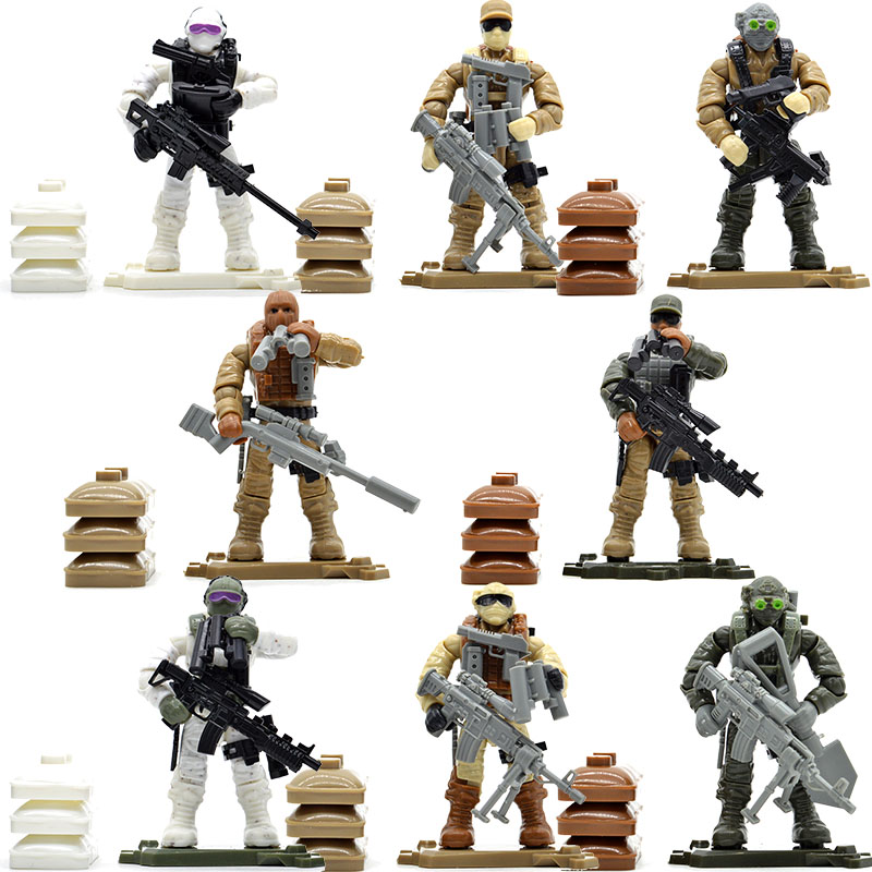 Set Game Army Soldiers Duty Call Military Series with Weapons Telescope Building Blocks Bricks Toys for Children pvc building blocks army field combat military escort weapons