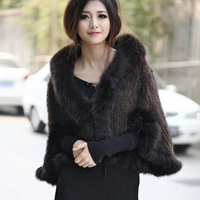 Hot Sale Genuine Mink Fur Shawl With Fox Fur Trim Women Natural Mink Fur Poncho Winter Knitted Mink Fur Jackets DL6235