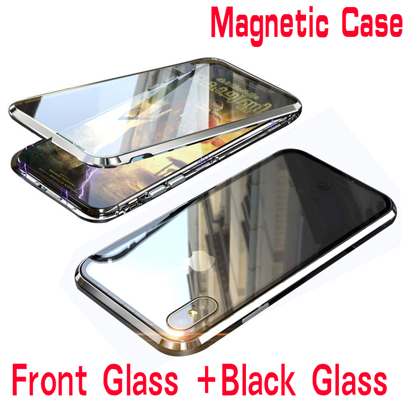 Double Side Glass 360 Magnetic Adsorption Metal Case For Iphone 7 8 Plus Phone Case For Iphone XR X XS MAX 6 6S  Front Black