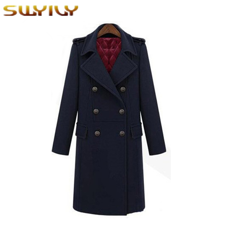 Winter Coat Women Military Thermal Wind Wool Blends Coats Plus Cotton Trench Handsome Design Long Overcoat Blue Green Casaco