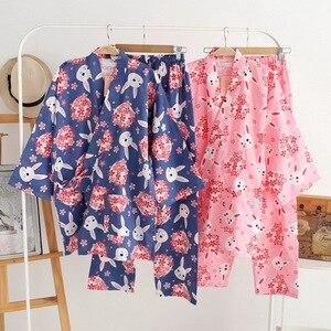 Image 2 - Kobiety piżamy zestaw wiosna i lato nowy panie bielizna nocna zestaw śliczny królik drukowane gaza bawełna komfort w stylu Kimono kobieta Homewear