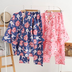 Image 2 - Vrouwen Pyjama Set Lente & Zomer Nieuwe Dames Nachtkleding Set Leuke Konijn Gedrukt Gaas Katoen Comfort Kimono Stijl Vrouwelijke Homewear