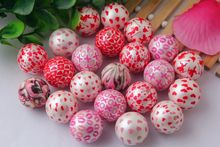 Mixed colorful 20mm Chunky round 100pcs/lot Valentines Day fashion acrylic print heart bubblegum ball beads for kids jewelry