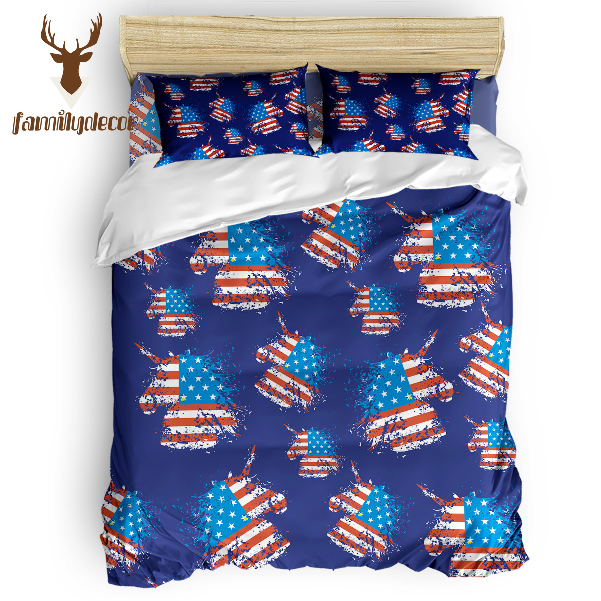 Familydecor Navy Usa Flag Unicorn Silhouette 4 Pcs Comforter Cover Set Quilt Cover Bedding Polyester Fabric Fore California King