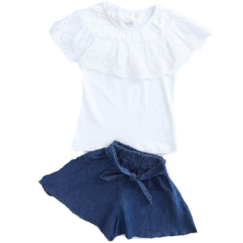 Summer Toddler Girls Princess Outfits Lace Patchwork Cotton Tops Denim Bowknot Short 2Pcs Kids Sets Fashion Big Children ClotheSummer Toddler Girls Princess Outfits Lace Patchwork Cotton Tops Denim Bowknot Short 2Pcs Kids Sets Fashion Big Children Clothe