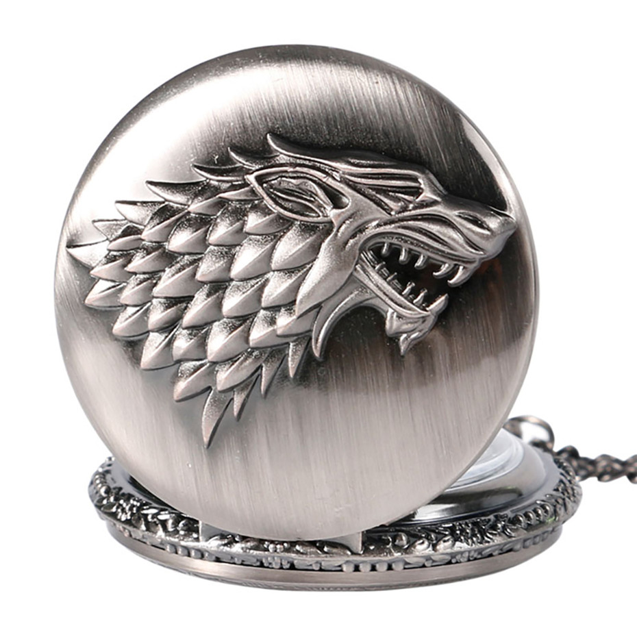 Hot Selling Game Of Thrones Stark Family Crest Theme Quartz Pocket Watch Cool Antique Pendant Clock Gifts For Fans
