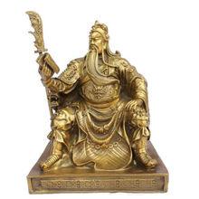 Бесплатная доставка китайский бронза латунь Дракон Гуань Гун/Ю. чтение книги статуя 10 «h Золото Цвет