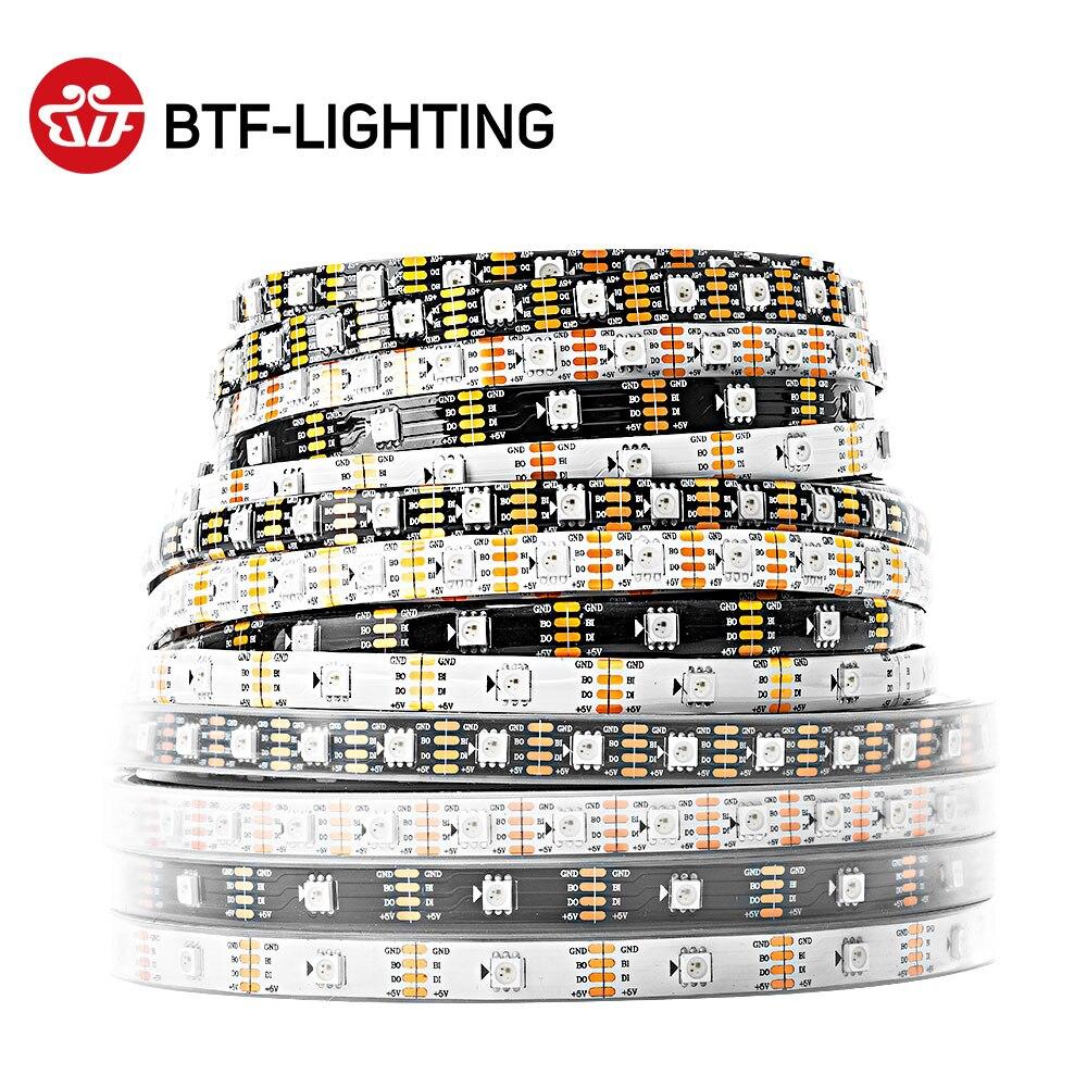 Ws2813 led pixel strip 1 m/4 m/5 m duplo-sinal 30/60/100/144 pixels/leds/m ws2812b atualizado preto/branco pwb ip30/65/67 dc5v dc12v